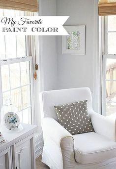 The perfect very light grayish-blue, more interesting than just white. Sherwin Williams Rhinestone.