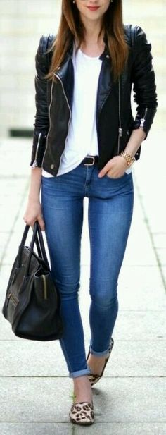 Outfit, shoes, animal print, denim