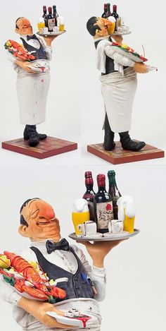 The Waiter Sculpture Statue Figurine by artist Guillermo Forchino. Discover the entire comical art collection at AllSculptures.com