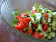 Tomato, Cucumber, Cilantro Salad - Dairy Free, Gluten Free, Sugar Free  1 cucumber  2 ripe organic tomatoes  1 bunch scallions  1/4 cup chopped cilantro  1 lime  1/4 tsp sea salt  fresh cracked pepper