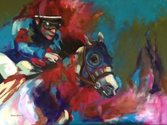 """Horse Art, Horse Gifts, Horse and Rider, Horse Racing, Kentucky Derby, Winner, Triple Crown, Equestrian Art, Painting, 11""""x14"""" Matted Print"""