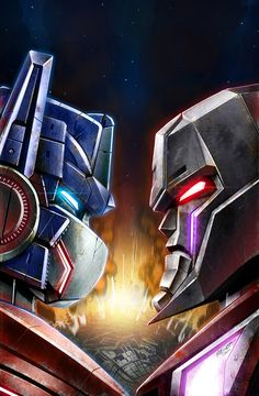 Transformers - Optimus Prime VS Megatron I enjoy watching all of the transformer movies and my brother always roots for megatron and I root for octomus prime. Transformers Characters, Transformers Optimus Prime, Transformers Drawing, Cultura Pop, Thundercats, Gi Joe, Comic Books Art, Comic Art, Transformer Party