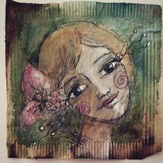 One of a little series of I have been making. Tea Bag Art, Girls Bags, Recycled Art, Portraits, Instagram Posts, Painting, Recycle Art, Painting Art, Paintings