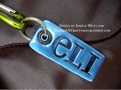 diy personalized stamped key rings & backpack tags