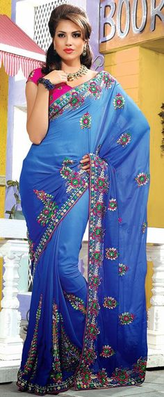 $100.21 Blue A Line Embroidered Silk Saree 25757
