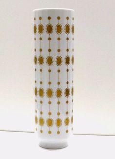 Hutschenreuther Vase | Mid Century Design | 60er Jahre | Op Art Golddekor