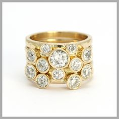 Diamond Handmade Bespoke Statement Ring Silver Gold Platinum Palladium Contemporary Statement Ring Multistone Rubover Wide