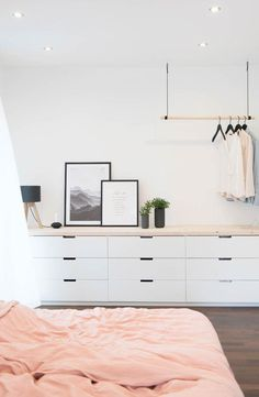 if no tv in bedroom can add a mirror on the right. Can place ikea drawers together&; if no tv in bedroom can add a mirror on the right. Can place ikea drawers together&; Room Design, Interior, Bedroom Interior, Tv In Bedroom, Home Decor, House Interior, Home Interior Design, Interior Design, Interior Design Bedroom