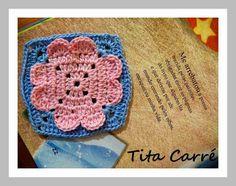 Square Coração 3D em crochet com poesia