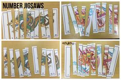 Numbered  jigsaws with dragon images.
