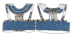 Egyptian Museum - Corselet of Tutankhamun - Materials : GOLD, CARNELIAN, IVORY, GLASS, AND FAIENCE   NEW KINGDOM: 18TH DYNASTY: TUTANKHAMUN/NEBKHEPERURE   Height (cm) : 40   Length (cm) : 85