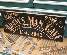 Garage Sign: Custom Business Sign Business Signage Custom Signs Name Sign Man Cave Sign Wood Sign Harley Davidson Personalized 11x28. $71.95, via Etsy.