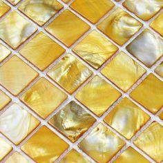 Online Buy Gorgous Mother of pearl tiles at OFF for kitchen backsplash & bathroom wall remolding. Mother of pearl tile, it is called shell tile, pearl shell tile, shell mosaic, mother of pearl mosaic. Mother of pearl tiles are natural green product. White Mosaic Tiles, Yellow Tile, Mosaic Wall Tiles, Color Yellow, Shower Accent Tile, Bathroom Accent Wall, Accent Walls, Marble Tile Backsplash, Subway Tiles