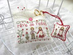 Reve de Roses  Designer / Jardin Prive (Nathalie CICHON) Stitch Count / 68W * 40H  Fabric / 32ct Belfast Linen Zweigart - Antique White  Thread / DMC, Gentle Art (Sampler Thread)