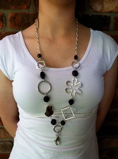 Black and Silver Lanyard Necklace (Tired of wearing my lanyard as a necklace. This is an upgrade! Jewelry Crafts, Jewelry Art, Beaded Jewelry, Jewelry Necklaces, Handmade Jewelry, Fashion Jewelry, Jewelry Design, Beaded Necklace, Jewellery