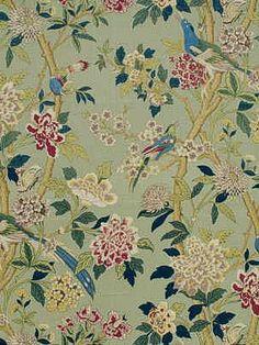 DecoratorsBest - Detail1 - GPJ BP10148-3 - HYDRANGEA BIRD AQUA/ROSE - Fabrics - DecoratorsBest