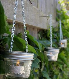 With just a couple hardware-store staples and some inexpensive mini mason jars, you can whip up a slew of charming candle holders to surround your space. Click through for a how-to and more DIY outdoor lighting ideas perfect for your next backyard party.