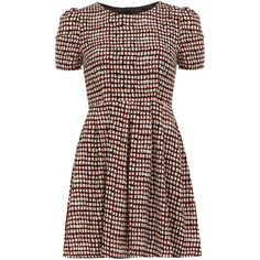 Dorothy Perkins Black red square tea dress ($27) ❤ liked on Polyvore featuring dresses, black, dorothy perkins dress, circle skirt, tea dress, red day dress and cotton dress