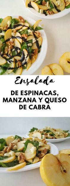 Ensalada de espinacas, manzana y queso de cabra | Tasty details | ¿Siempre te preparas las ensaladas de la misma manera? Aunque te guste mucho una ensalada determinada, para mi es súper importante ir variando.