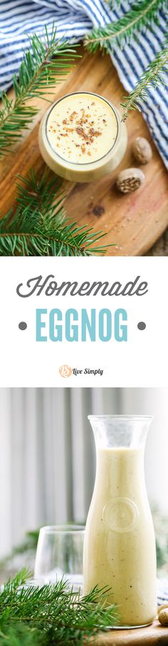 Easy real food eggnog! No cans or artificial ingredients. Just real, unprocessed, and simple ingredients! SOOO GOOD! http://livesimply.me/2015/12/14/homemade-eggnog-real-food-style/