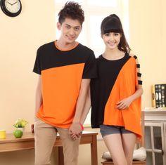 2013Korean Style Couple Casual Loose Patchwork Color Clothes Men T Shirt + Women T Shirt 202 $19.94