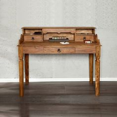 Schreibtischplatte holz  Massivholz Sekretär Schreibtisch mit 4 Schubladen - Holz massiv ...