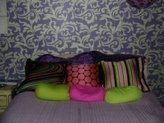 Stephanie's Damask Stencil painted in fun colors for this teen bedroom