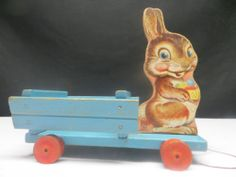 1949-50 Fisher Price Easter Bunny and Egg Cart #404