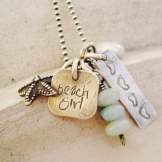personalized hand stamped rustic sterling silver beach girl necklace .. ocean jewelry. $59.00, via Etsy. ~ <3 all her stuff!
