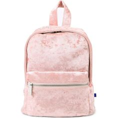 SKINNY DIP Crushed velvet mini backpack ($37) ❤ liked on Polyvore featuring bags, backpacks, mini rucksack, zip pouch bags, mini pouch, pouch bag and pink bag