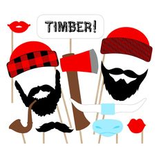 Lumberjack Printable Photo Booth Props by PrintablePropShop Jurassic World, Canadian Party, Photobooth Props Printable, Paul Bunyan, Lumberjack Party, Canada Day, Canada North, Thinking Day, Photo Booth Props