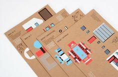 Cardboard town by Robert Czajka Loving this 'Make a town' -kit by Polish designer Robert Czajka
