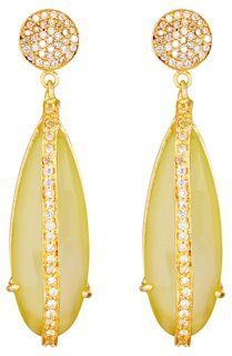 Yellow Chalcedony Party Drop Earrings