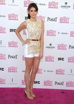 Nina Dobrev in Michael Kors clothes and Jimmy Choo shoes