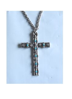 vintage 70s LARGE silver TURQUOISE CROSS goth by TigerlilyFrocks, $28.00