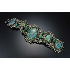 ~~ Silver Turquoise Free Form Cuff by Julie Powell ~~
