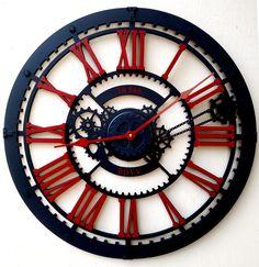 Unusual Clocks, Cool Clocks, Wall Design, House Design, Gear Clock, Wooden Clock, Home Decor Online, Flower Template, Luxury Decor