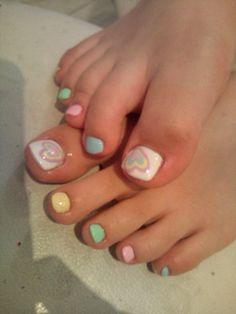 Cute summer heart toe nail design