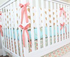 Coral, Mint and Gold Bedding, Custom Crib Bedding, Baby Bedding - Baby Girl Crib…