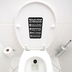 Autocollant mural Reglement WC | Decalques muraux | Voila! Canada