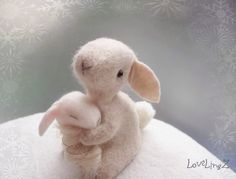 Felt rabbit with baby pastel felt hand stichted by LoveLingZ