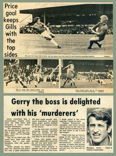 Gillingham 1 Shrewsbury Town 1 in April 1967 at Priestfield Stadium. The action from Division 3.