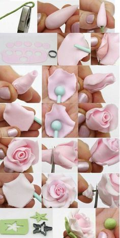 Fondant Rose Tutorial Never used fondant before but def wanna try in the future. - Fondant Rose Tutorial Never used fondant before but def wanna try in the future when I have an actual kitchen to work in. Rose En Fondant, Fondant Rose Tutorial, Fondant Flowers, Sugar Flowers, Cake Tutorial, Tutorial Rosa, Sugar Flower Tutorial, Fondant Figures Tutorial, Icing Flowers