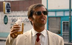 "black-sun-tabloid: "" criterionfilms: "" Easy Rider (1969) "" White linen suit, clip-on sunglasses, Jim Beam. America. """