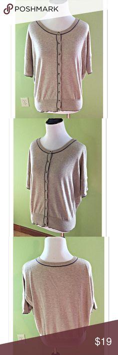 "LOFT Tan Short Sleeve Dolman Button Down Cardigan Beautiful tan Cardigan with gray trim by Ann Taylor LOFT. 100% Pima Cotton. Size M; Length 22"". EUC LOFT Sweaters Cardigans"