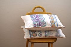 OOAK hand embroidered summer repurposed pillow by BylinaStudio