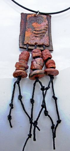 Beth Parker - Bohemian Handmade Polymer Clay and Bead Pendant, Organic Autumn