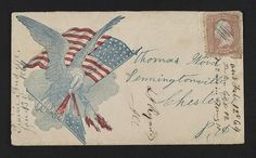 Civil War cover/envelope of the Union Eagle and flag attacking the  Confederate flag. (c. 1861-1864).