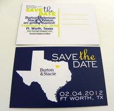 State Map Save the Date Postcards Custom Wedding Invitation Set of 48 - Any Location Worldwide