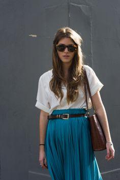 FOUREYES: Blue pleated skirt.